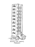 Apartment house style car takes commuters to work. - New Yorker Cartoon Premium Giclee Print by Alfred Frueh