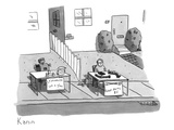 A robot and a boy have stands set up next to each other. The robot sells l… - New Yorker Cartoon Premium Giclee Print by Zachary Kanin