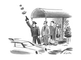 The doorman hails a cab with a gun. - New Yorker Cartoon Giclee Print by Mike Twohy