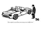 """If we carpool, we can all save some money on our midlife crises."" - New Yorker Cartoon Premium Giclee Print by Drew Dernavich"