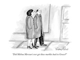 """Did Melina Mercouri ever get those marbles back to Greece"" - New Yorker Cartoon Giclee Print by Victoria Roberts"