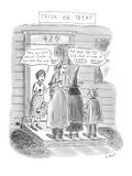 Trick or Treat: 'Here are some broccoli florets—for you and you and you!';… - New Yorker Cartoon Premium Giclee Print by Roz Chast