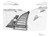 Sinister looking man ties bowling pins to a set of train tracks as a bowli… - New Yorker Cartoon Premium Giclee Print by Zachary Kanin