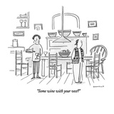 """Some wine with your vest"" - New Yorker Cartoon Reproduction giclée Premium par Liza Donnelly"