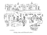 """A bialy, a latte, and 'A Farewell to Arms.' "" - New Yorker Cartoon Regular Giclee Print by Michael Maslin"
