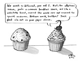 A cupcake talks to a muffin. - New Yorker Cartoon Premium Giclee Print by Farley Katz