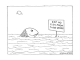 "A happy fish pokes his head above the water-line to read a sign that says …"" - New Yorker Cartoon Regular Giclee Print by Richard McCallister"