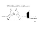 """Waiting for Godot and the cable guy."" Two people are sitting on a rock an…"" - New Yorker Cartoon Premium Giclee Print by Michael Shaw"