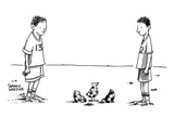 Two boys on a soccer team look down at the ground where a soccer ball patt… - New Yorker Cartoon Premium Giclee Print by Shannon Wheeler