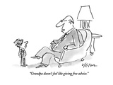 """Grandpa doesn't feel like giving free advice."" - New Yorker Cartoon Premium Giclee Print by Dean Vietor"