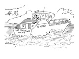 """The man steering a boat with a """"No Smoking"""" bumper sticker. - New Yorker Cartoon Giclee Print by Dean Vietor"""