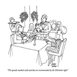 """The specials marked with asterisks are recommended by the Christian right…"" - New Yorker Cartoon Premium Giclee Print by Joseph Farris"