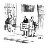 Man on street corner with sign 'Bring back the '80's'. - New Yorker Cartoon Giclee Print by Robert Weber