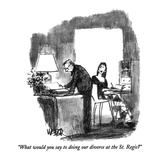 """What would you say to doing our divorce at the St. Regis"" - New Yorker Cartoon Giclee Print by Robert Weber"