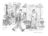 Disheveled man stands on street corner selling fragments of some sort labe… - New Yorker Cartoon Premium Giclee Print by Bill Woodman