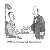 Man says to waiter who has deposited a whole block of Parmesan cheese onto… - New Yorker Cartoon Premium Giclee Print by Gahan Wilson