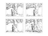 Man approaches slot machine built into a cherry tree. He pulls the lever, … - New Yorker Cartoon Premium Giclee Print by James Stevenson