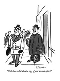 """Well, then, what about a copy of your annual report"" - New Yorker Cartoon Premium Giclee Print by Frank Modell"