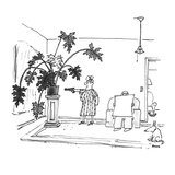 Woman aims gun at large potted plant while man glowers over top of newspap… - New Yorker Cartoon Premium Giclee Print by George Booth