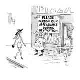 A grubby, sloppy, pizza man stands in front of his shop, which has a sign … - New Yorker Cartoon Premium Giclee Print by George Booth