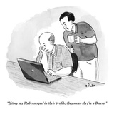 """""""If they say 'Rubensesque' in their profile, they mean they're a Botero."""" - New Yorker Cartoon Premium Giclee Print by Emily Flake"""