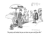 """I'm pretty well stocked, but you can leave me your card if you like."" - New Yorker Cartoon Premium Giclee Print by Bill Woodman"