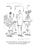 """I love blue Martinis.  It's like the fifties and the nineties all mixed u…"" - New Yorker Cartoon Premium Giclee Print by Barbara Smaller"