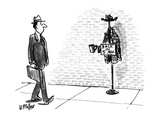 Man on street sees coat rack with coat, hat, and beggar's cup, and a sign … - New Yorker Cartoon Premium Giclee Print by Warren Miller