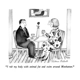 """I rub my body with animal fat and swim around Manhattan."" - New Yorker Cartoon Premium Giclee Print by Victoria Roberts"