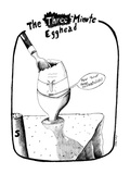 "Egg with face saying ""How 'bout those existentialists!"". - New Yorker Cartoon Premium Giclee Print by Stephanie Skalisky"