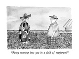 """Fancy running into you in field of marjoram!"" - New Yorker Cartoon Premium Giclee Print by Victoria Roberts"
