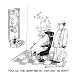 """One side looks shorter than the other, don't you think"" - New Yorker Cartoon Giclee Print by Victoria Roberts"