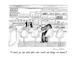 """I don't go out with girls who won't eat things on menus."" - New Yorker Cartoon Premium Giclee Print by Victoria Roberts"