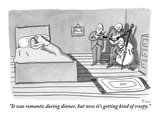 """It was romantic during dinner, but now it's getting kind of creepy."" - New Yorker Cartoon Premium Giclee Print by Zachary Kanin"