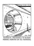 Kenneth Preferred To Remain Indoors,Working On His Pronouns. - New Yorker Cartoon Premium Giclee Print by Glen Baxter