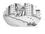 Mouse riding tractor makes little hay bundles of carpeting. - New Yorker Cartoon Premium Giclee Print by Anthony Taber