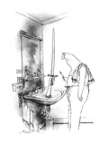 Man in bathroom. A hand reaches out of a water-filled sink holding up a sw… - New Yorker Cartoon Premium Giclee Print by Ronald Searle