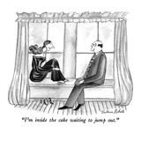 """I'm inside the cake waiting to jump out."" - New Yorker Cartoon Premium Giclee Print by Victoria Roberts"