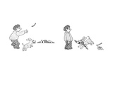 Man with dog throws stick toward horizon, which is drawn in minute perspec… - New Yorker Cartoon Premium Giclee Print by Gahan Wilson