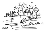 Deer are driving car while two human hikers look from side of road with 'D… - New Yorker Cartoon Premium Giclee Print by Frank Modell