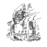 "A vegetable stand owner under a sign that says ""Fruits, Vegetables, Herbs,… - New Yorker Cartoon Regular Giclee Print by Sidney Harris"