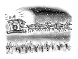 Reindeer wearing suits of armor pull Santa's sleigh, which looks like an a… - New Yorker Cartoon Premium Giclee Print by Ed Fisher