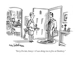 """Sorry I'm late, honey—I was doing two to five at Danbury."" - New Yorker Cartoon Premium Giclee Print by Eric Teitelbaum"