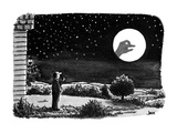 A man outside his house looks at the moon.  He is surprised to see a shado… - New Yorker Cartoon Premium Giclee Print by John Jonik