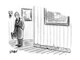 Man looks down and sees graffiti on baseboard next to mouse hole. - New Yorker Cartoon Premium Giclee Print by Warren Miller