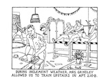 During Inclement Weather, Mrs. Grindley Allowed Us To Train Upstairs In Ap… - New Yorker Cartoon Premium Giclee Print by Glen Baxter