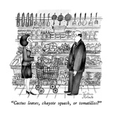 """Cactus leaves, chayote squash or tomatillos"" - New Yorker Cartoon Premium Giclee Print by Victoria Roberts"