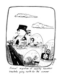 Annual migration of novelty souvenir snowballs going north for the summer - New Yorker Cartoon Premium Giclee Print by Stephanie Skalisky