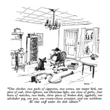"""One checker, two packs of cigarettes, two screws, one teapot bird, one pi…"" - New Yorker Cartoon Premium Giclee Print by George Booth"