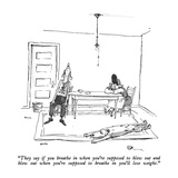"""They say if you breathe in when you're supposed to blow out and blow out …"" - New Yorker Cartoon Premium Giclee Print by George Booth"